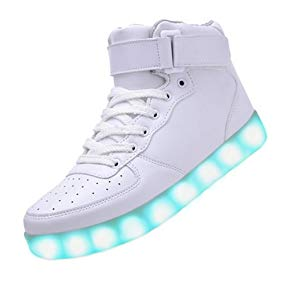 JustCreat Women Men High Top USB Charging LED Shoes Flashing Sneakers