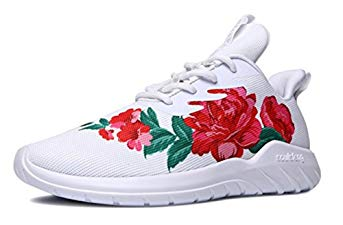 Soulsfeng Men's Women's Fashion Sport Shoes Lace up Cushioning Breathable Fabric Flower Design Couples Sneaker