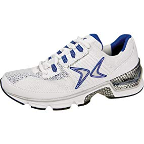 Aetrex Women's S681W Fitness Runner White-Navy Running Shoes - Size 6.5 Wide
